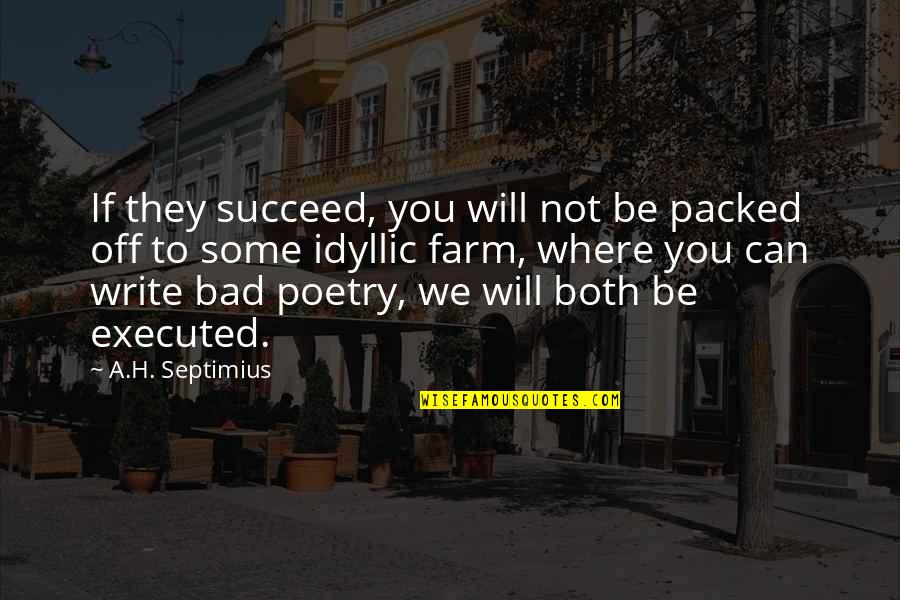 You Can't Succeed Quotes By A.H. Septimius: If they succeed, you will not be packed