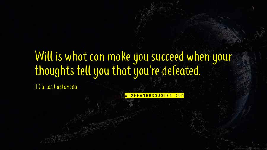 You Can't Succeed Quotes By Carlos Castaneda: Will is what can make you succeed when