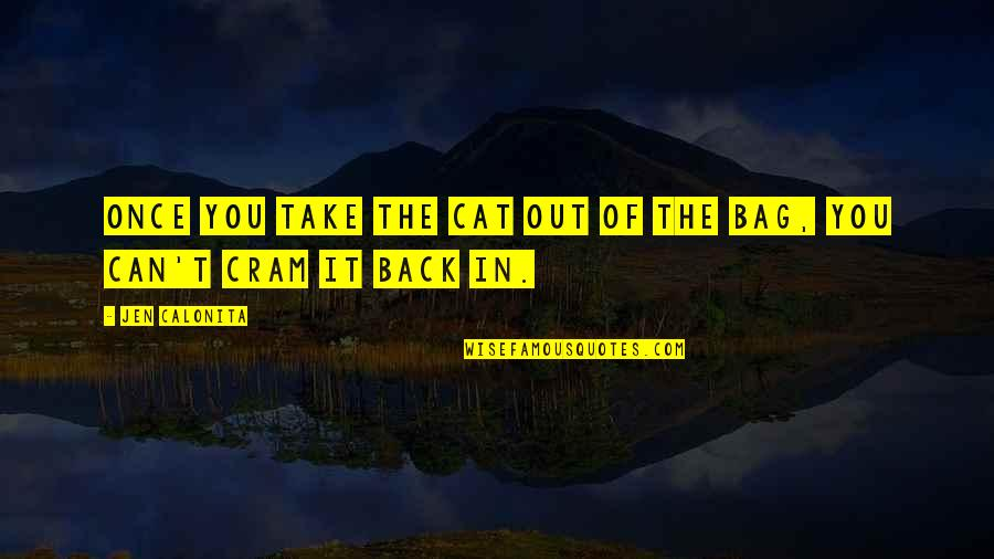 You Can't Take It Back Quotes By Jen Calonita: Once you take the cat out of the