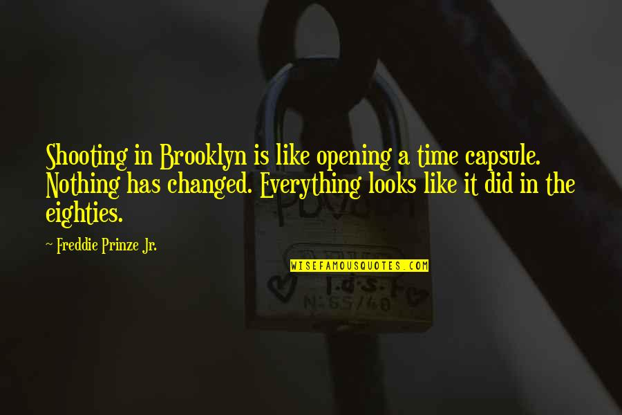 You Changed Everything Quotes By Freddie Prinze Jr.: Shooting in Brooklyn is like opening a time