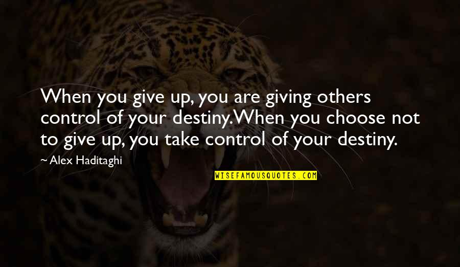 You Changing Your Life Quotes By Alex Haditaghi: When you give up, you are giving others