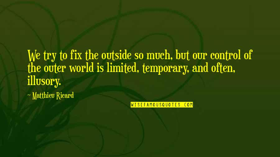 You Control Your Own Life Quotes By Matthieu Ricard: We try to fix the outside so much,