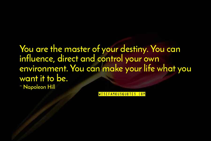 You Control Your Own Life Quotes By Napoleon Hill: You are the master of your destiny. You