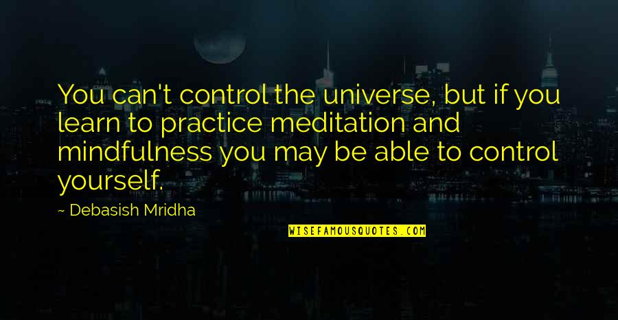 You Control Yourself Quotes By Debasish Mridha: You can't control the universe, but if you