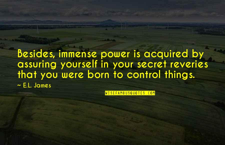 You Control Yourself Quotes By E.L. James: Besides, immense power is acquired by assuring yourself
