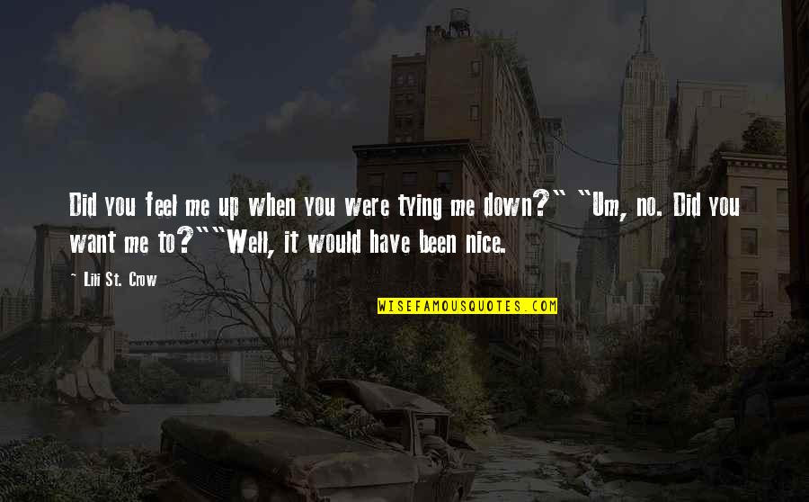 You Did It Well Quotes By Lili St. Crow: Did you feel me up when you were