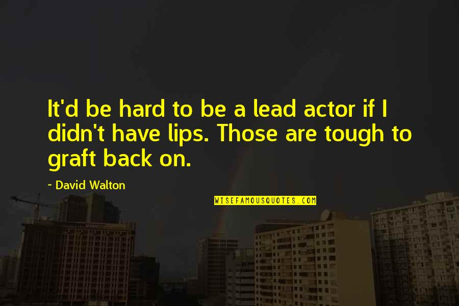 You Didn't Have My Back Quotes By David Walton: It'd be hard to be a lead actor
