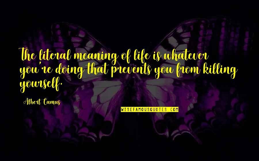 You Doing You Quotes By Albert Camus: The literal meaning of life is whatever you're