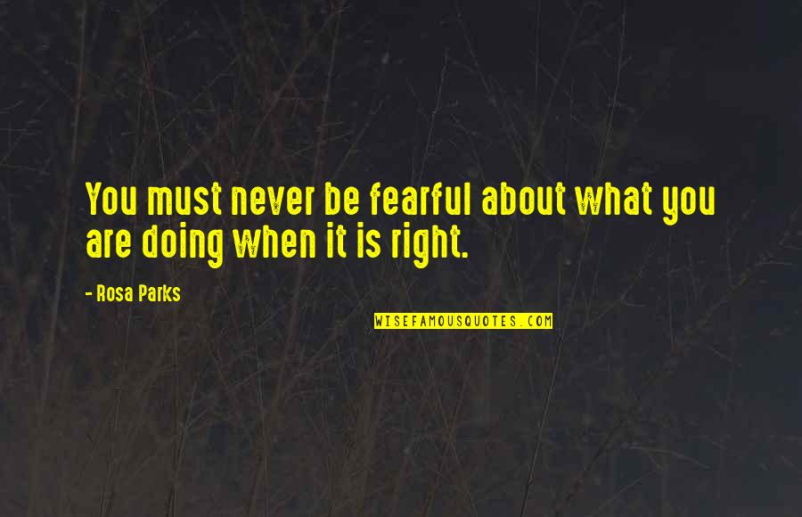 You Doing You Quotes By Rosa Parks: You must never be fearful about what you