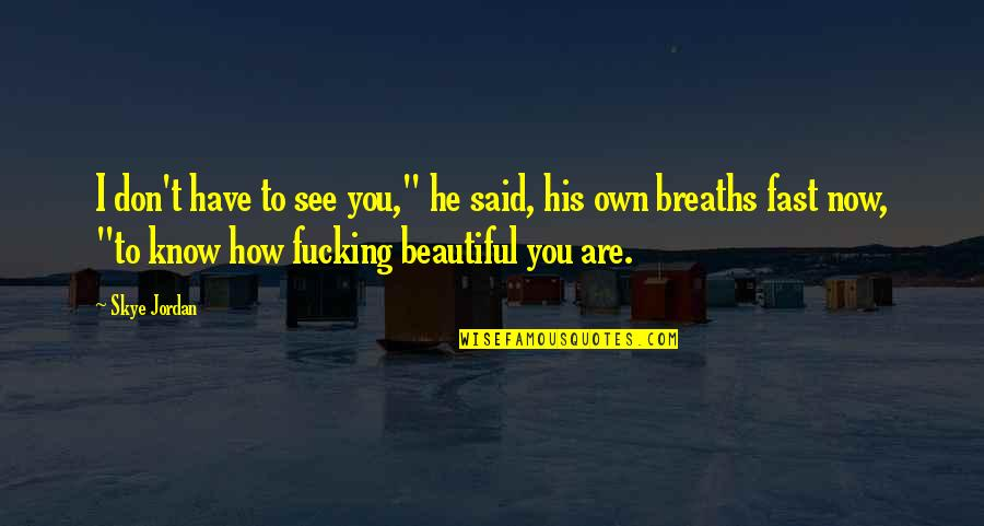 """You Don't Know How Beautiful You Are Quotes By Skye Jordan: I don't have to see you,"""" he said,"""
