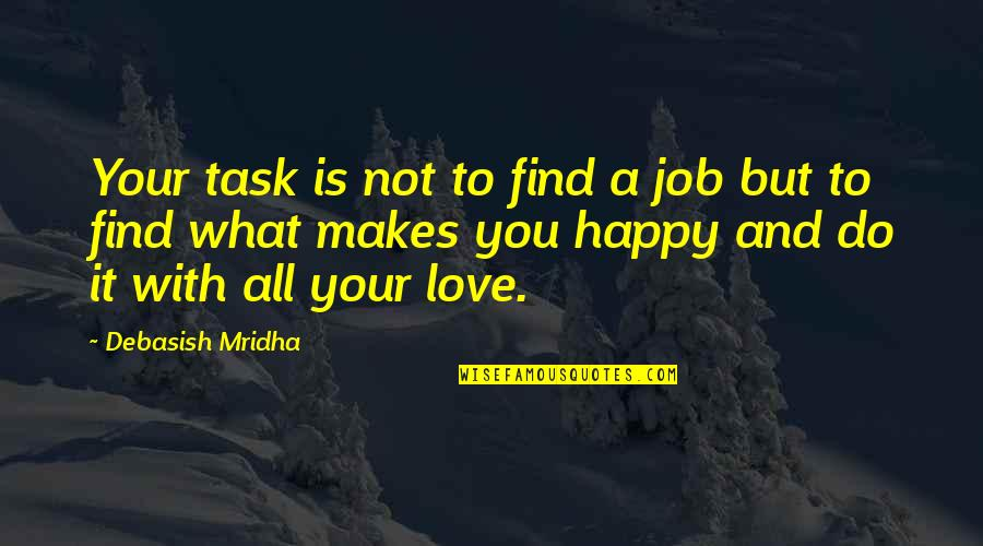 You Find Happiness Quotes By Debasish Mridha: Your task is not to find a job