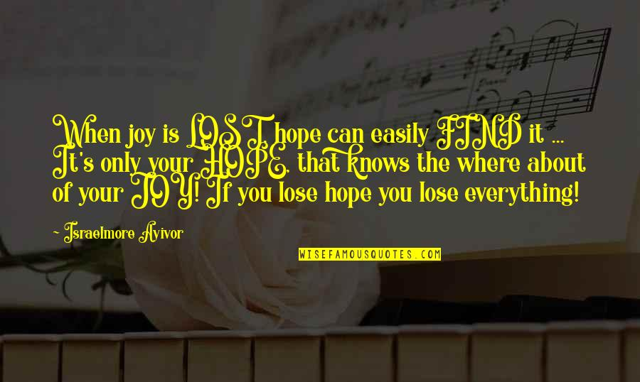 You Find Happiness Quotes By Israelmore Ayivor: When joy is LOST, hope can easily FIND