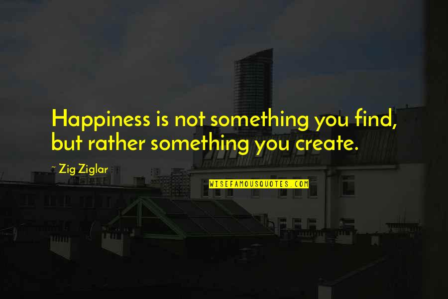 You Find Happiness Quotes By Zig Ziglar: Happiness is not something you find, but rather