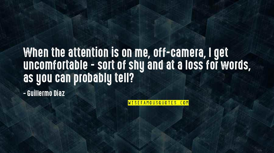 You Get Me Quotes By Guillermo Diaz: When the attention is on me, off-camera, I