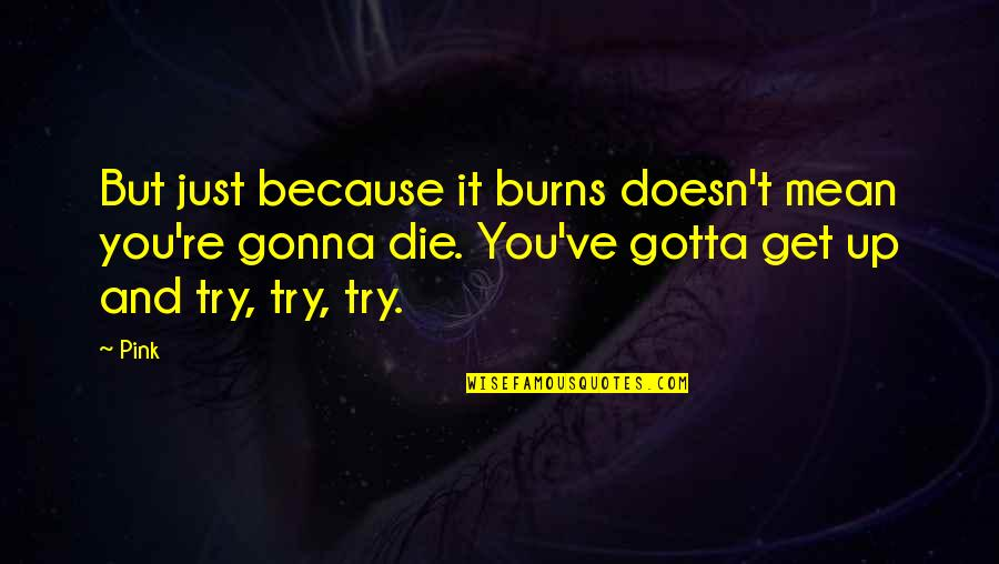 You Gotta Get Up And Try Quotes By Pink: But just because it burns doesn't mean you're