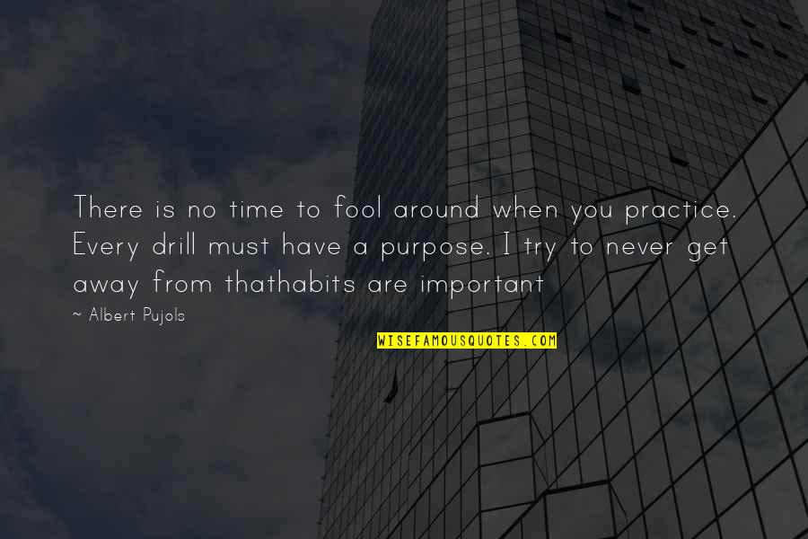 You Have A Purpose Quotes By Albert Pujols: There is no time to fool around when