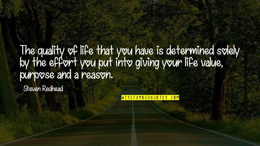 You Have A Purpose Quotes By Steven Redhead: The quality of life that you have is