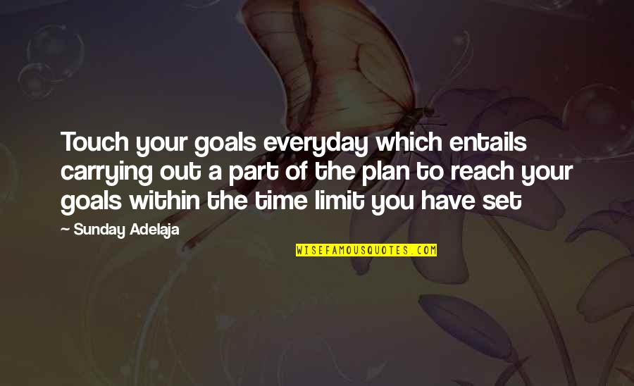 You Have A Purpose Quotes By Sunday Adelaja: Touch your goals everyday which entails carrying out