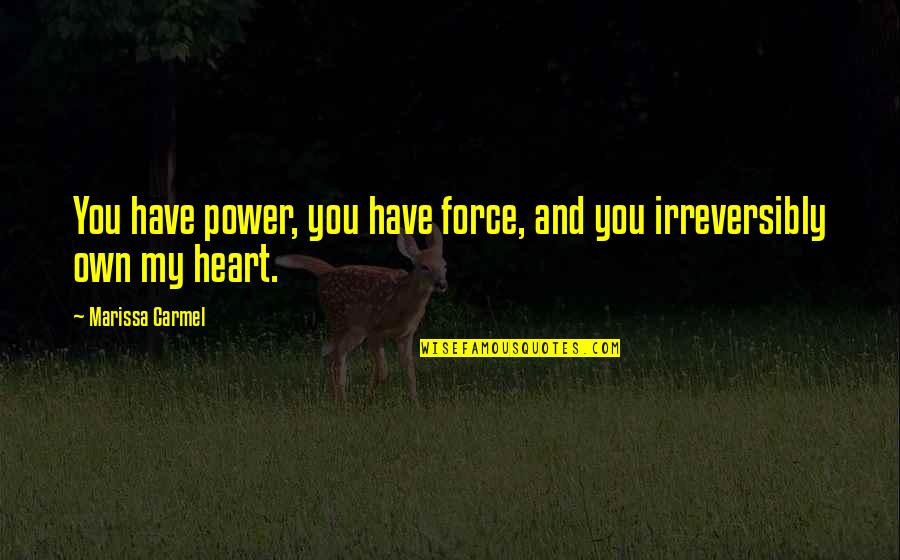 You Have My Heart Quotes By Marissa Carmel: You have power, you have force, and you