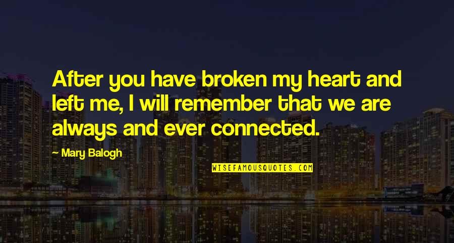 You Have My Heart Quotes By Mary Balogh: After you have broken my heart and left