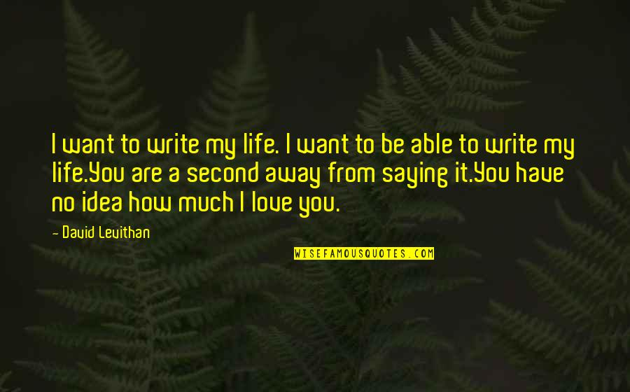 You Have No Idea Love Quotes By David Levithan: I want to write my life. I want
