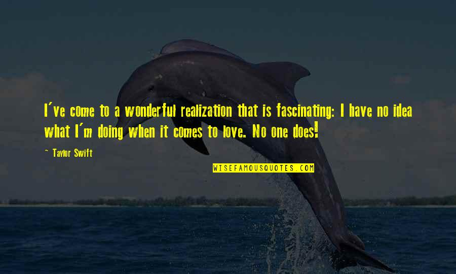 You Have No Idea Love Quotes By Taylor Swift: I've come to a wonderful realization that is