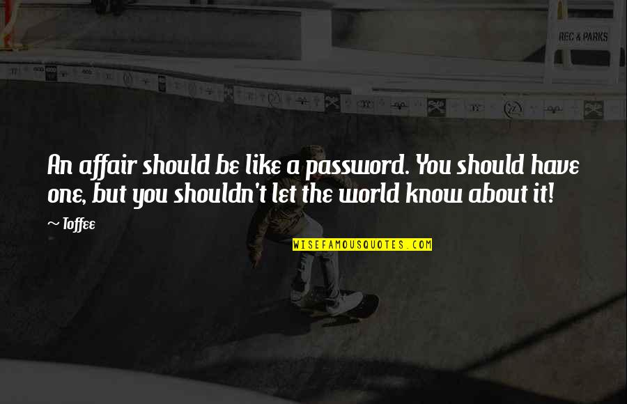 You Have No Idea Love Quotes By Toffee: An affair should be like a password. You