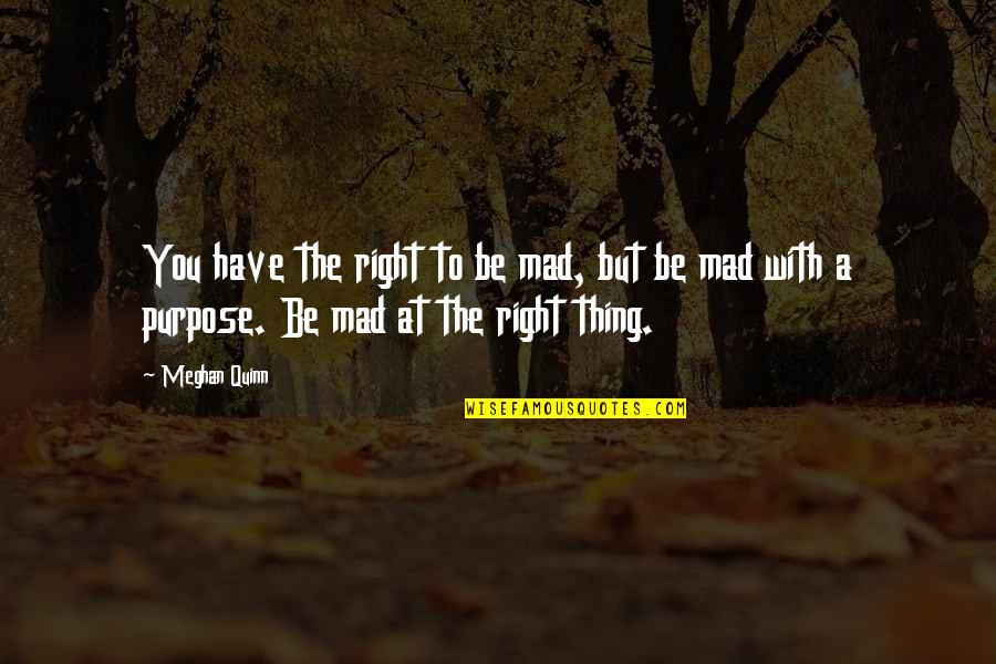 You Have Purpose Quotes By Meghan Quinn: You have the right to be mad, but