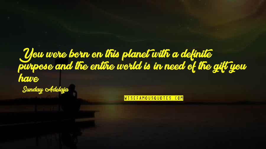 You Have Purpose Quotes By Sunday Adelaja: You were born on this planet with a