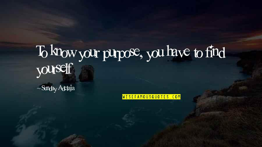 You Have Purpose Quotes By Sunday Adelaja: To know your purpose, you have to find
