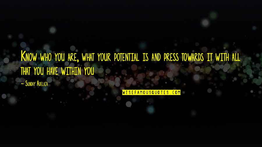 You Have Purpose Quotes By Sunday Adelaja: Know who you are, what your potential is