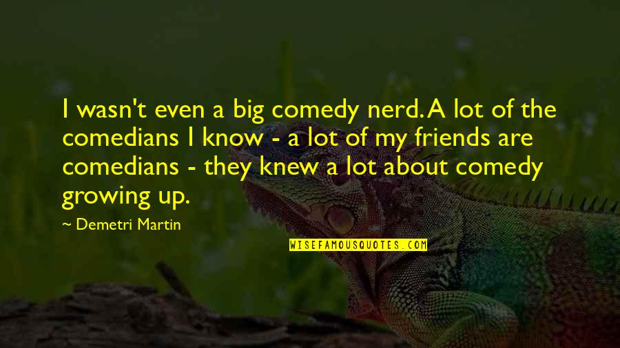 You Know Your Best Friends Quotes By Demetri Martin: I wasn't even a big comedy nerd. A