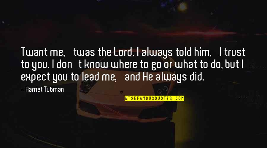 You Lead Me On Quotes By Harriet Tubman: Twant me, 'twas the Lord. I always told