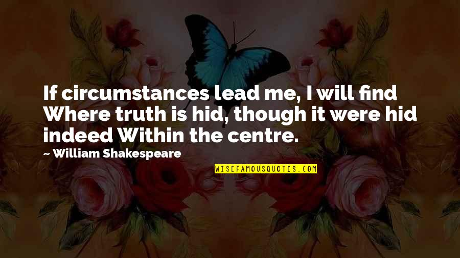 You Lead Me On Quotes By William Shakespeare: If circumstances lead me, I will find Where