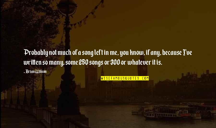 You Left Me Quotes By Brian Wilson: Probably not much of a song left in