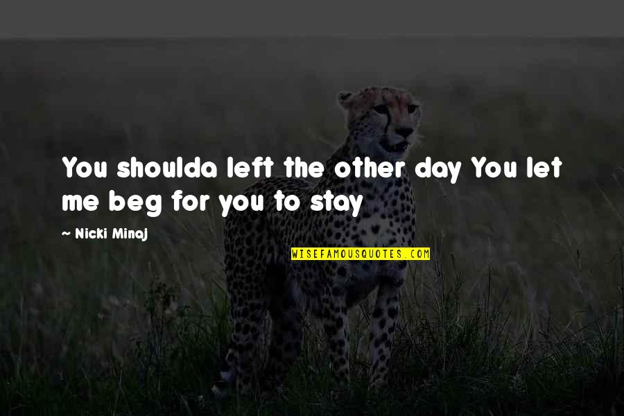 You Left Me Quotes By Nicki Minaj: You shoulda left the other day You let