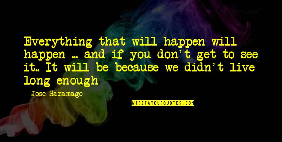You Live Long Quotes By Jose Saramago: Everything that will happen will happen ... and