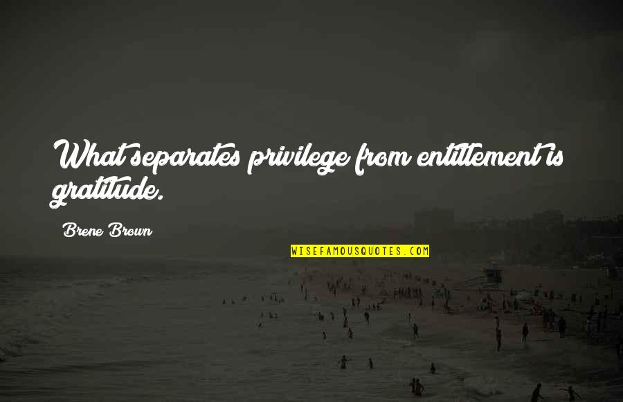 You Made Me Complete Quotes By Brene Brown: What separates privilege from entitlement is gratitude.