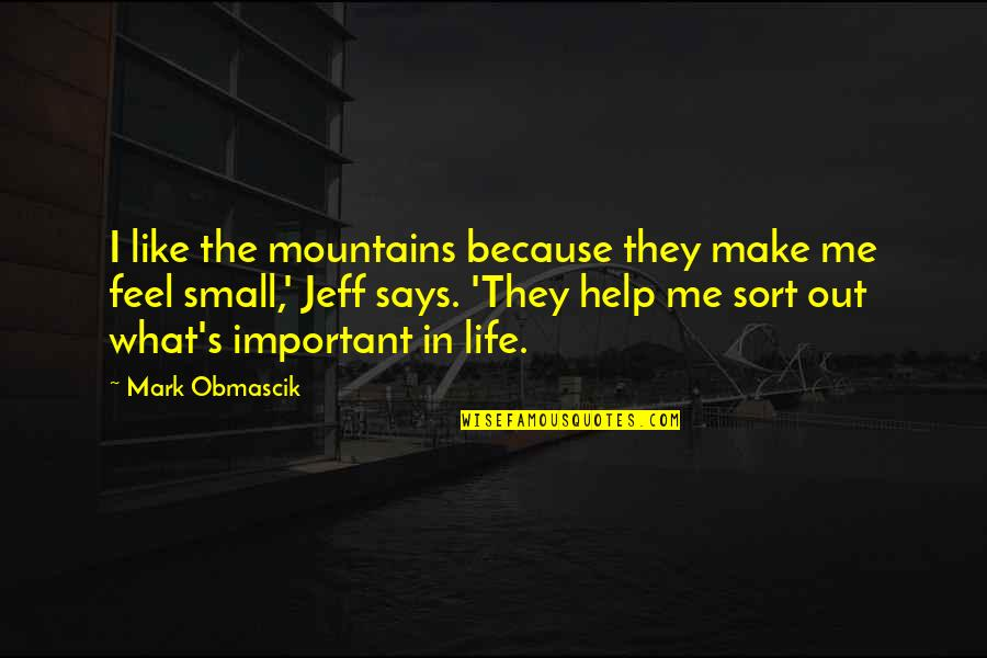 You Make Me Feel So Small Quotes By Mark Obmascik: I like the mountains because they make me