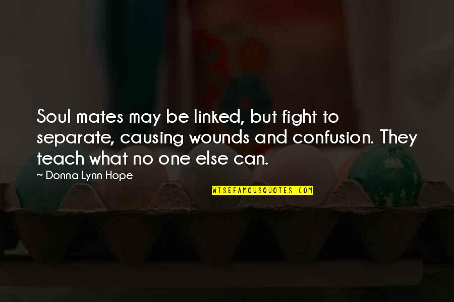 You My Soulmate Quotes By Donna Lynn Hope: Soul mates may be linked, but fight to