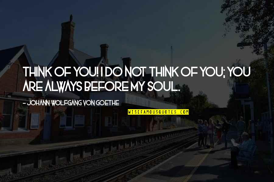 You My Soulmate Quotes By Johann Wolfgang Von Goethe: Think of you! I do not think of