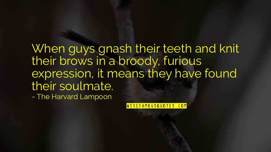 You My Soulmate Quotes By The Harvard Lampoon: When guys gnash their teeth and knit their
