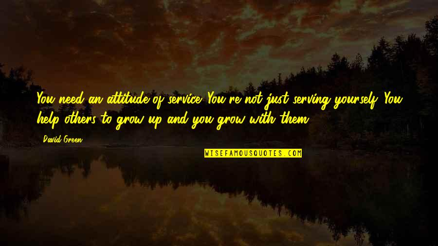 You Need To Grow Up Quotes By David Green: You need an attitude of service. You're not