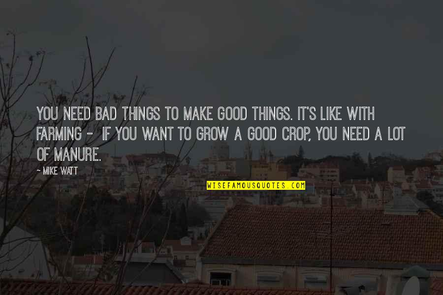 You Need To Grow Up Quotes By Mike Watt: You need bad things to make good things.