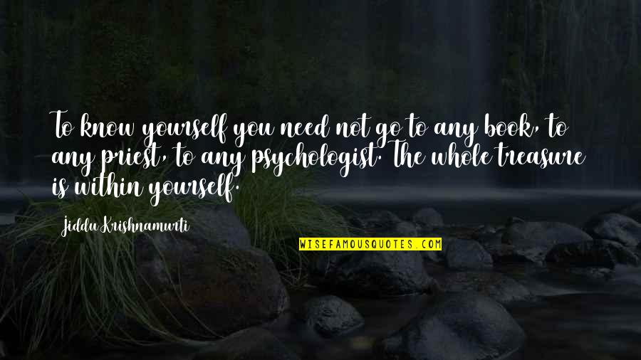 You Need To Know Quotes By Jiddu Krishnamurti: To know yourself you need not go to