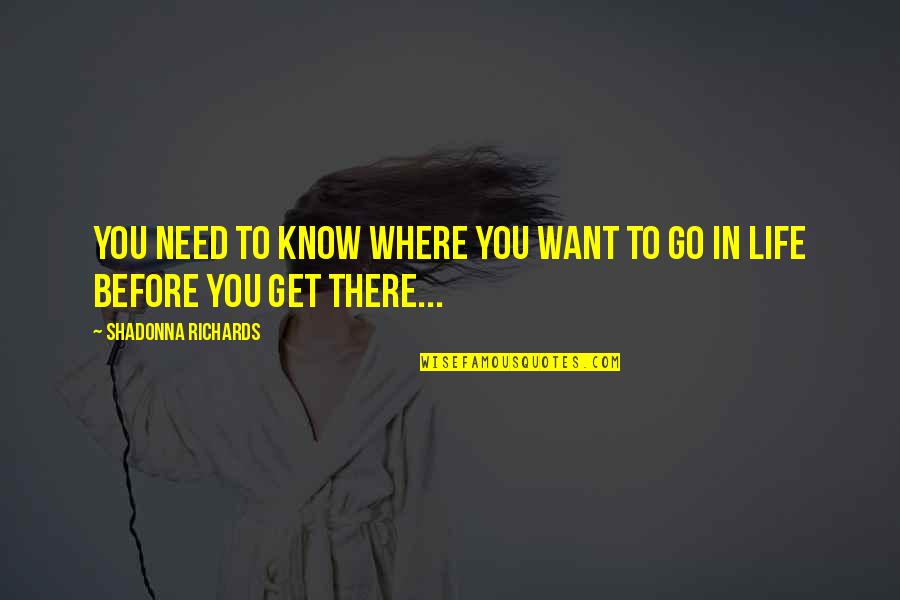 You Need To Know Quotes By Shadonna Richards: You need to know where you want to