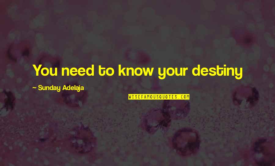 You Need To Know Quotes By Sunday Adelaja: You need to know your destiny