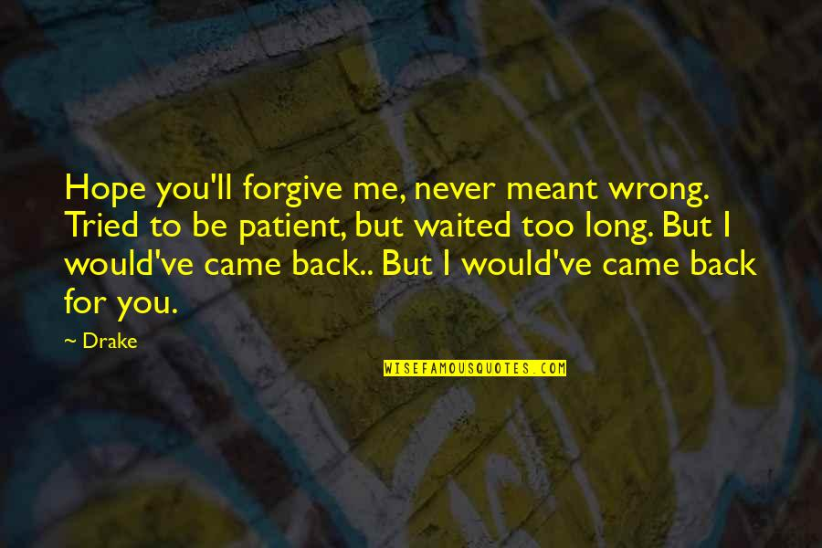 You Never Came Quotes By Drake: Hope you'll forgive me, never meant wrong. Tried