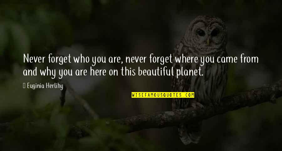 You Never Came Quotes By Euginia Herlihy: Never forget who you are, never forget where