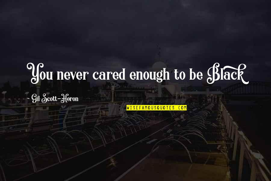 You Never Cared Quotes By Gil Scott-Heron: You never cared enough to be Black